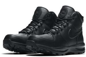 New NIKE Manoa Mens Leather winter work hiking sneaker boots triple black 8-13