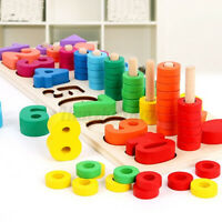 Kid Montessori Rings  Preschool Math Toy Wooden Hand-Eye Counting  //#