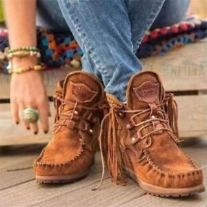 Women Faux Suede Tassel Ankle Riding Boots Round Toe Lace Up Casual Cowboy Shoes
