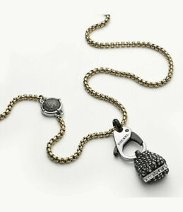 NWT Diesel Men's Black Jet Hematite Necklace DX1177710  NIB NEW