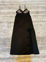 SOMA Small Black Satin Lace Long Skit Nightgown Lingerie Sissy Stretch Dress Bra
