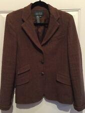 Ralph Lauren Blazer Jacket Women's 8 Cotton Houndstooth Brown Equestrian Buttons