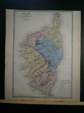 Grande carte 44 cm X 36 cm couleur an1878: Corse