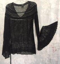 Express Handknit Black Crochet Mesh Tunic Rayon Cover Up/Top Long Bell Sleeve M