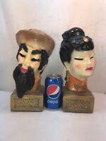 Vtg 2pc 1981 Oriental Man Woman Geisha Chalkware Bookends Figurine Busts Statue