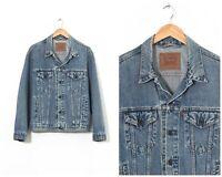 90s Vintage Mens LEVIS Trucker Denim Jacket Jeans Blue Size L