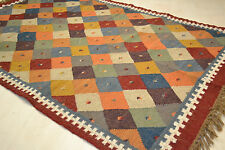 Large 100% Wool Kilim Multi Diamonds 150x215cm Quality Hand Made Reversible rug