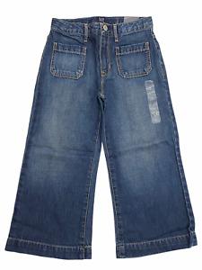 NWT GAP Girls High Rise Wide Leg Crop Jeans Sz 10-12-14 Medium Wash #464253