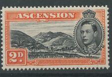 Ascension Island SG41 1938 2d black & orange-red Mounted Mint P13.5