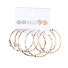Set Rhinestone Love Heart Ear Stud Wws 6 Pairs Big Circle Hoop Round Earrings