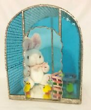 Blue Stained Glass & Wire Bunny Hutch With Bunny, Chicks & Basket Of Eggs Easter
