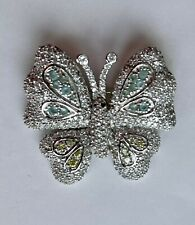 Coloured Crystals 45mm x 40mm Butterfly Brooch Finished In Silver