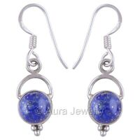 Solid 925 Sterling Silver Earrings Drop Dangle Lapis Lazuli Gemstone Jewelry