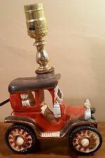 Vintage Handpainted Antique Car Ceramic Table Lamp