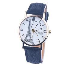 Fashion Eiffel Tower Women's Watch Leather Band Analog Quartz Dress Wrist Watch