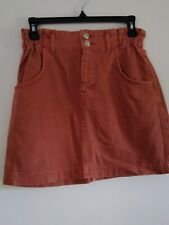 Top Shop Salmon Pink Denim Skirt Size 10 ref cl9
