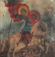 Vintage hand painted tempera/wood icon Saint George