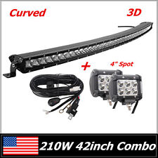 "42"" 210W CREE CURVED LED LIGHT BAR SINGLE ROW SLIM COMBO 4"" SPOT LAMP & WIRING"