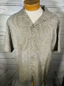 Island Shores Mens Brown Silk Button Down Size Large (J)