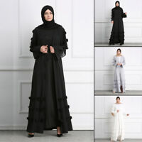 Women Dubai Lace Cardigan Muslim Open Front Robe Islamic Maxi Dress Kaftan Abaya