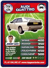 Audi Quattro #316 Top Gear Turbo Challenge Trade Card (C362)
