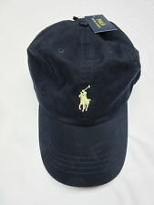 Polo Ralph Lauren Baseball Cap Hat Black With Yellow Pony Adjustable One Size