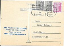 "GERMANY BERLIN POST CARD 27/2/60; TO HEIDELBERG;BERLIN+""PAYMENTS ABROAD"" CANCELS"
