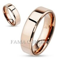 FAMA Stainless Steel Rose Gold IP Beveled Edge Flat Wedding Band Ring Size 5-13