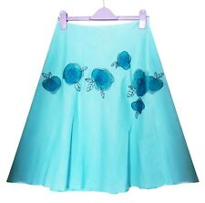 Monsoon teal embroidered floral knee length skirt A-line 100% linen-Size 12