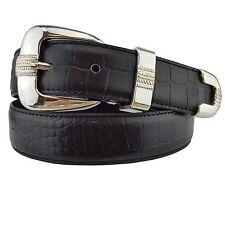 Junior Golf belt in Black Crocodile printed Leather