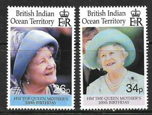 BRITISH INDIAN OCEAN TERRITORY Sc 223-225 NH ISSUE OF 2000 - QUEEN MOTHER