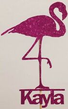 Personalised Custom Birthday Party Cake Topper Pretty Flamingo Add Your Name