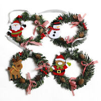 Mini Christmas Wreath Wall Door Hanging Ornament Garland Xmas Party Deco hi