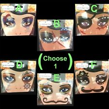 Gothic Punk Tattoo EYE DECALS Makeup Face Art Gems-PIRATE SKULL STACHE-Choose 1