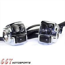 Chrome Motorcycle 1'' Handlebar Control Switch Housing Wiring Harness For Harley