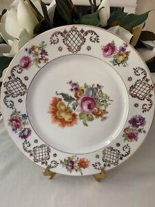 4 Vtg Heinrich &Co Selb Bavaria He& Co. Floral Dinner Plates Gold Accent/Trim