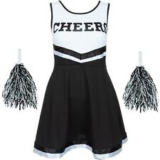 CHEERLEADER FANCY DRESS OUTFIT HIGH SCHOOL MUSICAL UNIFORM COSTUME + POM POMS