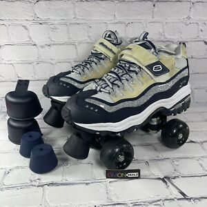 Vtg Skechers Womens 4 Wheelers Roller Skates White Lace Up Hook And Loop Size 6