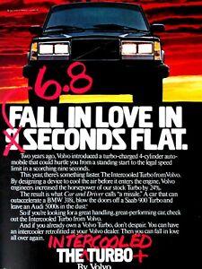 """1984 Intercooled Turbo Volvo Fall In Love 6.8 Flat Original Print Ad-8.5 x 11"""""""