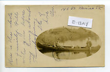 Winchendon? MA Mass RPPC real photo 1907, people in canoe, mill in distance