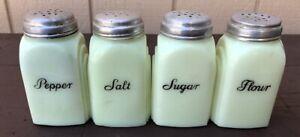 Vintage Art Deco Range Shaker Set Salt Pepper Flour Sugar McKee Roman Arch