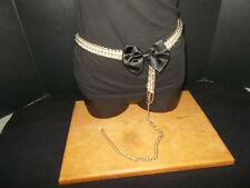 Lovely Vintage Retro Women's Silver Tone Faux Pearl Link Belt Runway Adjustable