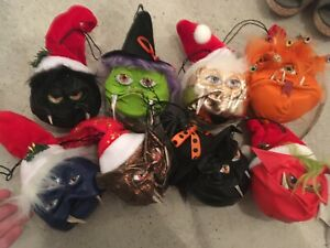MONSTER HEAD FACE CHRISTMAS HALLOWEEN DECORATION BAUBLES BALLS DECO OOAK WITCH