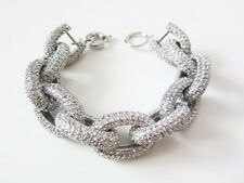 Chunky Silver Pave Chain Link  Bracelet with 1,500+ Crystals