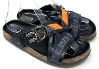 Authentic Christian Dior Trotter Logo Sandals Flat Slide #37 US 7 Black Rank AB