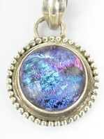 Aqua Blue Teal Purple Dichroic Fused Glass Sterling Silver Pendant