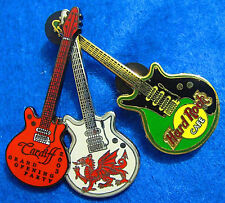 CARDIFF WALES GRAND OPENING PARTY 3 GUITAR SET WELSH DRGON Hard Rock Cafe PIN