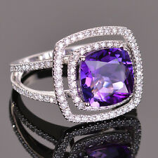 Amethyst and Diamond cocktail ring in 14k White gold