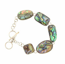925 Toggle Bracelet 7.5 to 8 sterling silver Puau Abalone Shell Link
