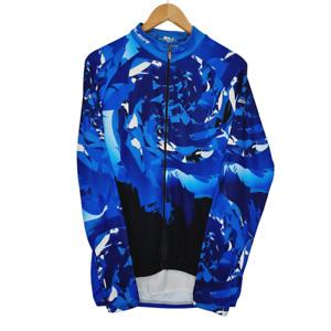 Voler Cycling Long Sleeve Full Zip Blue Vortex Graphic Pattern Jersey Mens 2XL